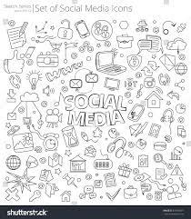 hand drawn social media icons vector stock vector 574944871