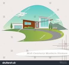 mid century modern style house vector stock vector 506464846
