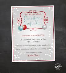 christmas craft fair flyer event custom printable pta