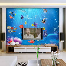 popular sea wall mural buy cheap sea wall mural lots from china 3d wall murals wallpaper papel for baby kids room 3d photo mural wall paper background fish
