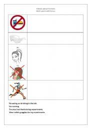 english worksheets sefety rules in a science lab