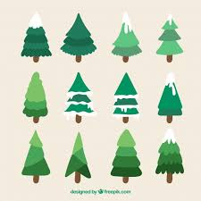 collection of tree with snow vector free