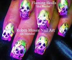 robin moses nail neon nails flaming skulls skull nails