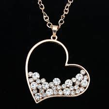 long heart pendant necklace images Gold rhinestone heart pendant long chain necklace pendants for jpg