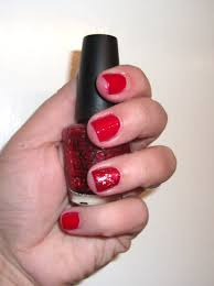 red holiday nails and red with glitter accent nail polish me