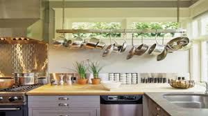 decor using wall mount pot rack for cool kitchen storage ideas