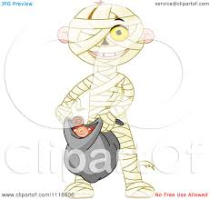 halloween kid clipart cartoon of a trick or treating halloween kid in a mummy costume