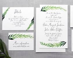 Calligraphy Wedding Invitations Printable Diy Wedding Invitation Handpainted Watercolor Leaves