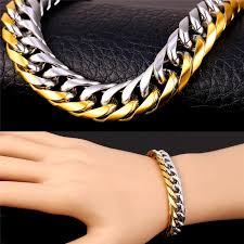 stainless steel gold bracelet images 2018 u7 hiphop gold bracelet men jewelry two tone gold plated jpg