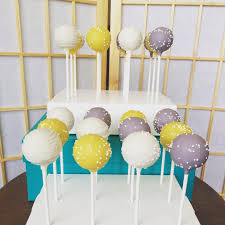 baby shower cake pops yellow and grey cake pops bridal