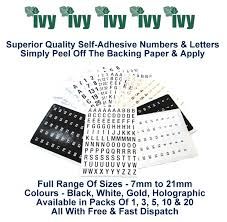 ivy self adhesive sticky numbers u0026 letters label stickers numbered