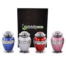 keepsake urns set of 4 beautiful shades of enamel brass keepsakes