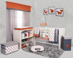Orange Crib Bedding Sets Bacati Playful Fox Orange Grey 10 Pc Crib Set Including Bumper Pad
