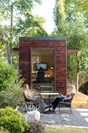 tiny backyard home office with deck and table cafe tables