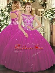 fuchsia quinceanera dresses beading and appliques quinceanera dress fuchsia lace up cap sleeves