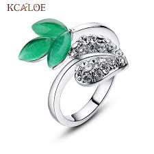 green lantern wedding ring kcaloe green lantern ring fashion rhinestone leaf wedding
