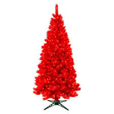 7 pre lit artificial tree translucent ruby clear