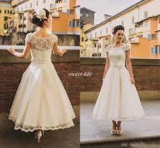 discount retro wedding dresses tea length 2017 retro wedding