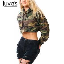 army pattern crop top luvcls women long sleeve camouflage hoodies sweatshirt camo army hip