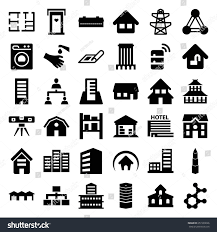 barn plan structure icons set set 36 structure stock vector 651509026
