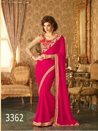 rani pink colour rani pink colour georgette saree fashionkendra
