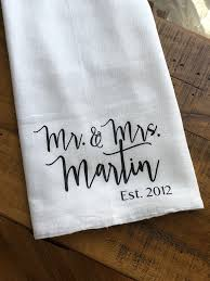 wedding gift kitchen personalized mr and mrs kitchen towel custom wedding gift