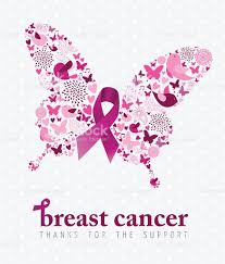 breast cancer support poster pink ribbon butterfly stock vector