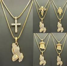praying necklace mens iced out gold jesus praying micro angel pendant box chain