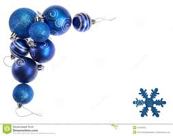 blue christmas isolated blue christmas balls and snowflake forming border of a