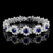 diamond flower bracelet images Platinum and 18k white gold sapphire and diamond flower bracelet jpg
