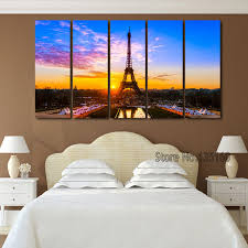 Eiffel Tower Bedroom Decor Aliexpress Com Buy 5 Piece Eiffel Tower Paintings For Living