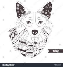 corgi zentangle style coloring book stock vector 445072468