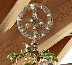 lit outdoor peace sign tree topper pottery barn