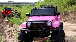 jeep lifted pink lifted power wheel jeep ride on 12v truck ride review youtube