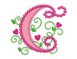 Create Monogram Initials Cute Letter C Alphabet For Lil Princess Hearts Applique Embroidery