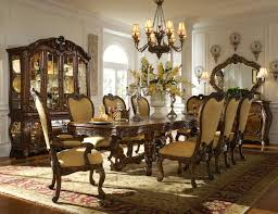 dark brown finish solid wood long table formal dining room