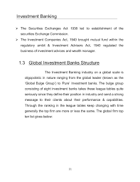Investment Banking League Tables Project On Investment Banking