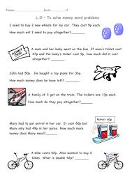 year 1 money word problems transport theme by beckyjanehutchings