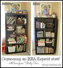 Using 2 Ikea Expedit Bookcases by Organizing An Ikea Expedit Shelf With Thirty One Products