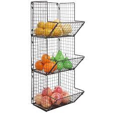 metal fruit basket rustic brown metal wire 3 tier wall mounted kitchen