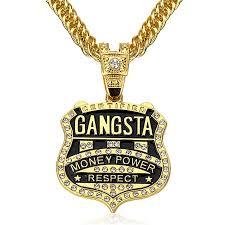 mens necklace with pendant images Wholesale 90cm chain gangsta pendant necklace men jewelry gold jpg