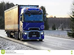renault blue blue renault trucks t semi trailer delivers in winter editorial