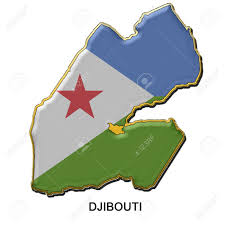 Djibouti Map Map Shaped Flag Of Djibouti In The Style Of A Metal Pin Badge