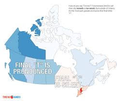 how do you say map in maps of canada showing what words you d hear in vs every