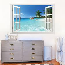 Bedroom Wall Stickers Uk Large 3d Window Exotic Beach Sea View Uk Wall Sticker