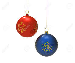 red and blue christmas balls isolated on white 3d render stock