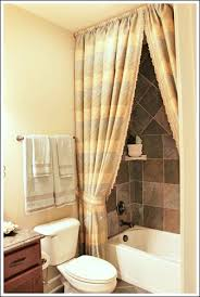 curtain ideas for bathrooms bathroom decorating ideas a shower curtain hung at the ceiling