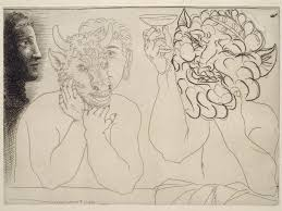 young man with mask of a bull faun and profile of a woman 1934
