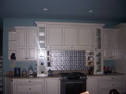 blue white kitchen decoration using white wood kitchen cabinet