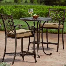 Bistro Set Bar Height Outdoor by Oak Cliff 7piece Metal Outdoor Dining Set With Chili Cushions